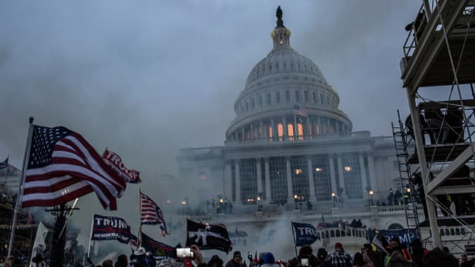 Pro-Trump rioters stormed the US Capitol as lawmakers were set to sign off Wednesday on President-elect Joe Biden's electoral victory in what was supposed to be a routine process headed to Inauguration Day. (Photo by Probal Rashid/LightRocket via Getty Im