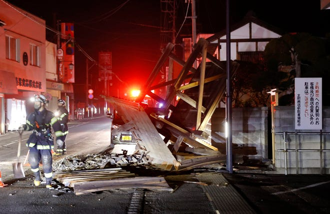 A structure falls due to an earthquake in Koorimachi, Fukushima prefecture, northeastern Japan early Sunday, Feb. 14, 2021. A strong earthquake hit off the coast of northeastern Japan late Saturday, shaking Fukushima, Miyagi and other areas, but there was no threat of a tsunami, officials said. (Jun HIrata/Kyodo News via AP) ORG XMIT: TKMY811